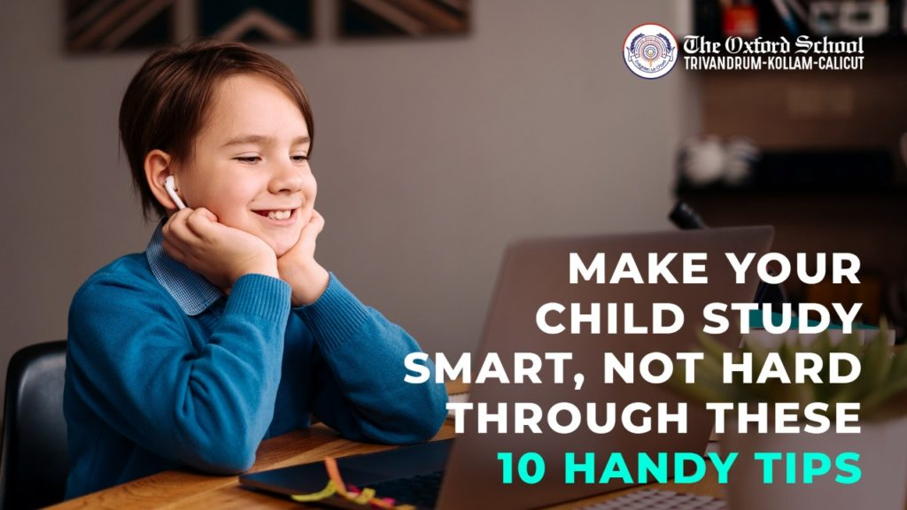 Happy and mental healthy child studying the smart way